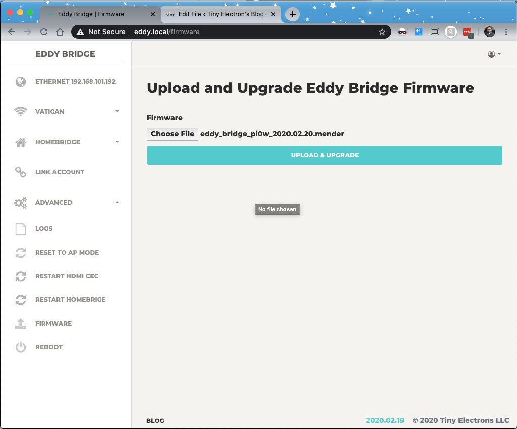 Eddy Bridge Firmware Update